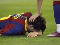 Barcelona's Lionel Messi reacts during their  King's Cup final soccer match against Real Madrid in Valencia